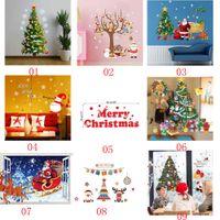 weihnachten vinyl fenster dekorationen großhandel-38 Stil abnehmbare DIY Frohe Weihnachten Wand Aufkleber Dekoration Weihnachtsmann Geschenke Baum Fenster Wand Aufkleber Vinyl Wandtattoos Xmas Decor