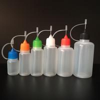 bouteille de metal et liquide 5ml achat en gros de-Bouteille à aiguille vide 3 ml / 5 ml / 10 ml / 15 ml / 20 ml / 30 ml / 30 ml / 50 ml bouteilles de compte-gouttes en plastique LDPE avec bouchon à aiguille en métal à vis