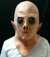 Barato Máscaras Alienígenas De Látex-Realista UFO Alien Head Latex Mask Cosplay Creepy Saucer Homem Full Face Halloween Party Mask Terror Ghost Costume Mask