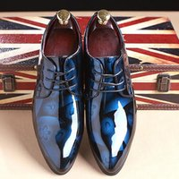Wholesale Dress Classic Shoes Men - New 2017 Top Patent Leather Pointed Oxfords Men Classic Business Shoes Men's Dress Shoes Genuine Leather Office Shoes Wedding Party Sho