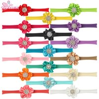 XIMA 17pcs / lot 2''Flower Headband Kids Hair Accessories Soft Nylon Flower Headband com Diamond Girls Elastic Hair Bands
