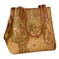 Wholesale Handbag Print Map - Wholesale-Women pu leather handbags vintage printing map bag ladies New famous brand Women handbags Bolsas women's shoulder bag W16-86