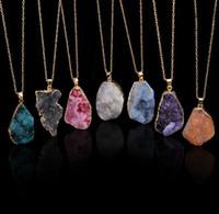 doğal jeod mücevherleri toptan satış-Druzy Kuvars Doğal Taş Düzensiz Geode Altın Renk Ham Kadınlar Için NYX Taş Kolye Kolye Zinciri Kuvars Kolye Takı Aksesuarları