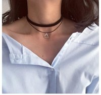 Wholesale Womens Sexy Shape - Necklaces Black Chocker Punk Style Layered Necklace Fashion Sexy Womens Triangle Pendant Chain Necklace Trillion shape Jewelry A293