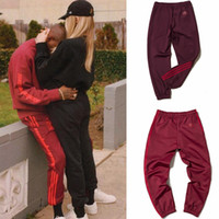 Wholesale Army Sweatpants - Kanye Red Casual Pants West Coast Pablo Kanye Season4 Fitness jogging pants Men And Women Jogging Pants Calabasas Print Sweatpants