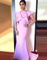 leichte lila kleider für frauen großhandel-Light Purple Mermaid Abendkleider Party Elegant für Frauen Boot-Ausschnitt Backless Jersey Roter Teppich Celebrity Formelle Kleider