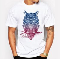 Wholesale Long Sleeve Owl Shirt - Newest 2017 men's fashion short sleeve night warrior owl printed t-shirts funny tee shirts Hipster O-neck popular tops