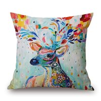 Wholesale Zebra Print Decorations - Watercolor Birds Cushion Cover Deer Peacock Owl Zebra Thick Linen Cotton Pillow Cover 10 Styles 45X45cm Bedroom Sofa Decoration