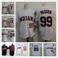 "Wholesale Blue Films - The Film ""Major League"" Vintage Jerseys #99 Rick Vaughn #13 Pedro Cerrano #7 Jake Taylor #24 Roger Dorn White Indians Movie Baseball S-3XL"