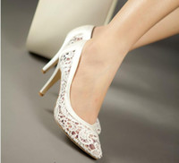 Wholesale Bride Dress 22 - Wholesale-Nice women cutout satin fabric size 22 high heel sexy lace wedding shoes shallow mouth pointed toe genuine leather bride pumps