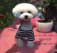 Wholesale Pp Sport Coat - New autumn winter fashionable dog clothes teddy guest striped sport cotton elastic pet clothing