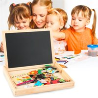 Atacado - Hot Sale! Baby Kids Toy Wooden Drawing Placa de escrever Puzzle magnético Double Easel