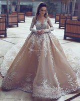 Wholesale Embroideried Sequin - Arabic Dubai crystals heavily embroideried ball gown champagne wedding dresses 2018 long sleeves jewel neckline chapel train