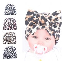 Wholesale Knitted Leopard Hats - Knit Baby girl hat 2016 leopard Fashion Newborn bow cap Cotton Maternity Boutique Accessories 0-3month Winter warm European Autumn wholesale