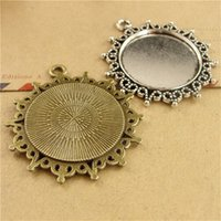 Wholesale 25mm Silver Pendant Trays - BOYUTE 25Pcs Round 25mm Cabochon Tray Wholesale Antique Bronze Silver Plated Vintage Pendant Base Jewelry Findings & Components