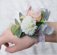 Wholesale Bridesmaid Bridal Bouquet - Romantic Bridal Wrist Corsage Wedding Flower Add Bridesmaid artifical Wedding flowers Bridal Wrist Corsage Cheaper Fast shipping