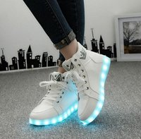 online shopping Led Luminous Shoes - Size 35-46 Winter LED Luminous Shoes For Men Fashion Light Up Led Shoes Unisex White  Black High Top Casual Growing Shoes