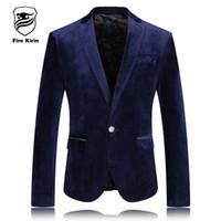 Wholesale Velour Suits For Men - Wholesale- Fire Kirin Blazer Men 2017 Slim Fit Mens Velour Blazer Fashion Brand Casual Blazers For Men Blue Stylish Velvet Suit Jacket Q238