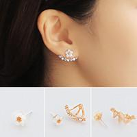 Wholesale Silver Stud Flower Earings Wholesale - 3 Style 3 Colors Gold silver rose gold Women Fashion Korean Cute Crystal Flower Shaped Earings Double Side Ear Stud Earrings