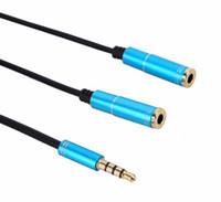micrófono de los auriculares al por mayor-3.5mm Micrófono Auricular Pareja Cable de Audio de Calidad Masculina A 2 Hembra Aux Extensión Splitter Cabo Para Mic Auricular Teléfono PC Cord