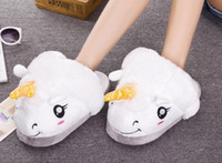 Wholesale Cute Warm Ups - 2017 Winter Warm Indoor Slippers Cute Cartoon Plush Unicorn Slippers for Grown Ups White Black Unisex Home Slippers