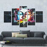 Wholesale Human Face Art - Hot Sale Paintings Spray Prints Abstract Budda Portrait Human Face Unframed Wall Art Paint For Home Living Room Decoration 5 Panels