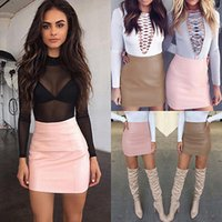 Wholesale Pink Bodycon Skirt - Vogue 2017 Women Sexy Bandge Leather Skirt High Waist Pencil Bodycon Short Mini Skirt