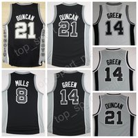 Wholesale Free Uniform Fan - Top Stitched 8 Patty Mills Black White Gray Uniforms 14 Danny Green 21 Tim Duncan Basketball Jerseys For Sport Fans Free Shipping
