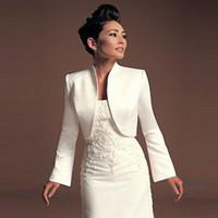 tasarlanmış resmi ceket toptan satış-Sıcak Satış Uzun Kollu Örgün Fildişi Toptan Düğün Bolero Saten Malzeme Ceket Kaliteli Profesyonel Tasarım