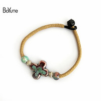 Wholesale Vintage Product Wholesale - BoYuTe New Product 5Pcs Vintage Diy Handmade Knitted Chinese Porcelain Ceramic Cross Charm Bracelets for Women