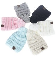 Wholesale wholesale knitted beanies - 6 Colors CC Trendy Beanie CC Knitted Hats Kids Chunky Skull Caps Winter Cable Knit Slouchy Crochet Hats Fashion Outdoor Hats