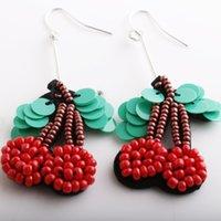 Wholesale Tungsten Wear Plates - New Interesting Style Summer Fruit Cherry Earrings Manual Wear Millet Bead Sequins Double Cherry Pendant Earring Ear Stud Wholesale Factory