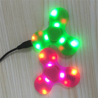 Wholesale toy box led - Led Bluetooth Music Fidget Cube Spinners Finger HandSpinner LED USB EDC Hand Tri Spinner Spiral Decompression Anxiety Toys With Retail Box