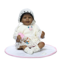 Atacado- 22 inch Rare Black Kids Doll Realistic Reborn Lifelike Baby Doll Silicone Smile That Look Real Collectible Toy Gifts