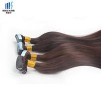 kalın bant toptan satış-16 18 20 inç Bant Saç Uzantıları 50 g / takım Ipeksi Düz Kalın Uçları Bant Saç Uzantıları Brezilyalı Virgin İnsan Saç