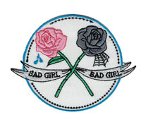 cartoon rose flower - Fashion Rose Flower Sad Girl Bad Girl Embroidered Cartoon Patch Iron On Any Garment DIY Applique Patch Pink Grey Badge G0505
