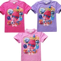 Wholesale Kids Sweaters Fashion - lastest cartoon Trolls cute Costume fashion 4-12T short sleeve t shirt kid children's spring summer Sweater outwear clothing