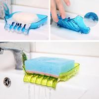 plastikduschenhalter großhandel-Bunte flexible Wasserfall Seifenhalter Abflusshalter Bad Dusche Seifenschale Ablage Kunststoff Seifenkiste