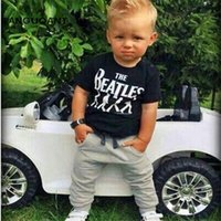 Wholesale Boy Short Sleeve Hooded - Wholesale- New 2017 Baby Boy clothes 2pcs Short Sleeve T-shirt Tops +Pants Outfit Clothing Set Suit with The Beatles printed