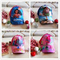 Wholesale Kids Snapbacks Wholesale - Kids Hats Moana Troll Caps Girls Anime Cartoon Hats Boys Cosplay Baseball Caps Baby Cool Hip-hop Sun Hats Kids Ball Snapbacks Hat M1