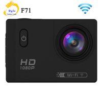 ücretsiz gemi kamera toptan satış-Spor Eylem Kamera F71 Wifi HD 1080 P 2.0 inç LCD 12MP 30 M Su Geçirmez 170 derece Geniş açı Dalış Kam Ücretsiz Shiping