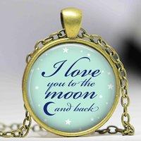 pendentifs de navire ami achat en gros de-Livraison gratuite Je t'aime à la lune et retour Collier Saint Valentin cadeau bijoux lune pendentif collier meilleur ami idée cadeau