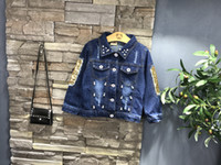 Wholesale Wholesale Girls Jean Jacket - children outerwear&coats girls clothing 2017 spring autumn fashion tops baby kids jackets long sleeve butterfly sequins denim jean coat