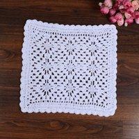 Wholesale crochet napkins - Wholesale- LINKWELL Brand New Fashion 25 cm Square White Colour Table Cotton Crochet Doilies Cup Mat Napkin Cup Coaster Tablemat Doily