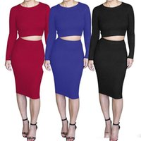 Wholesale Hot pure candy color long sleeve slim hip two piece jersey knit dress knit sweater dress bodycon pencil party dresses blouse skirt