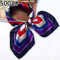 Wholesale Silk Satin Head Scarves - Wholesale- Soft Faux Silk Square Scarf Bandanas Head Wrap Shawl Satin Stewardess Kerchief