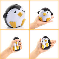 Wholesale penguin dolls - 100pcs Lot Penguin Jumbo Squishy Kawaii Cute Animal Slow Rising Relief Scented Phone Charms Squishies Bread Cake Kid Fidget Toy Doll Gift