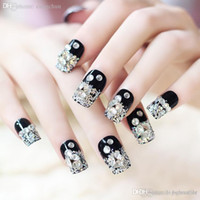 black and white web design - Fake False Nail salon handmade new nail designs Bridal Nail Art fingernail art black and white spider web fake nails