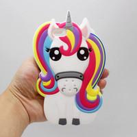 Wholesale Iphone Rubber Cartoon Cases - 3D Cartoon Unicorn Silicon Case for iphone 5S SE 6 6S 7 Plus Samsung Galaxy J1 J5 J7 Grand Prime Cute Rainbow Horse Rubber Cover Phone Cases