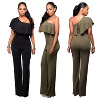 Plus Size Ruffles Piping Ein-Schulter Ruched Hollow Out Backless Overalls Frauen Hosen Bodysuits Sexy Frauen Spielanzug